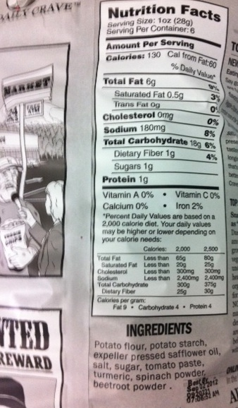 Daily Crave Nutrition Label