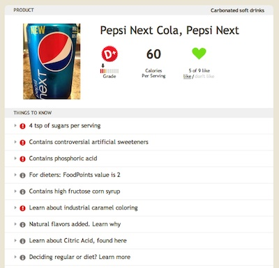 Pepsi Next rated on Fooducate's web app