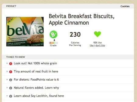 Belvita on Fooducate