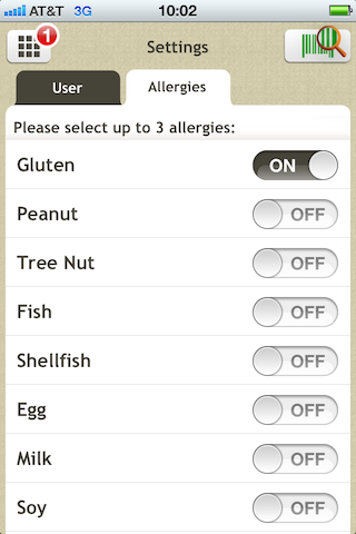 Allergy Talk by Fooducate - Settings Screen