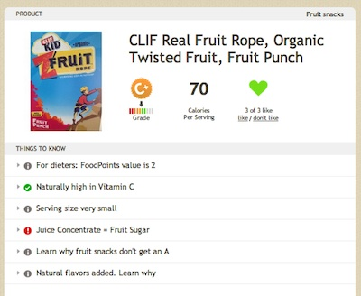 Clif Kids Fruit Rope on Fooducate