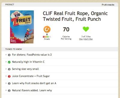 Clif Kids Fruit Rope on Fooducate