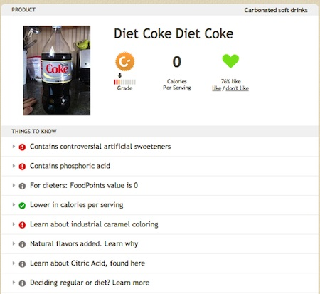 Diet Coke on Fooducate
