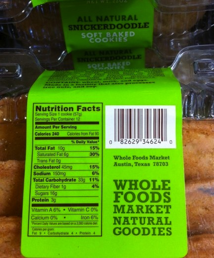 Snickerdoodle Nutrition Facts Panel