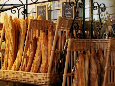 baguettes in a french bakey