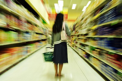 blurry shopper seeking protein