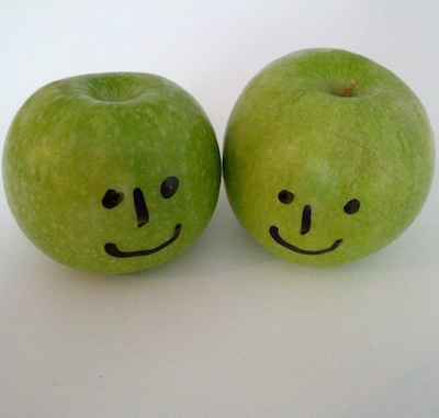 two happy apples