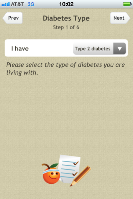 Diabetes App Type Screenshot