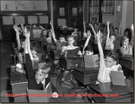 Kids voting for Fooducate in 1950's class