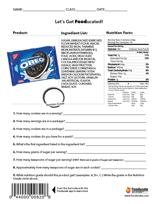Worksheet Nutrition Label Worksheet fun nutrition worksheets for kids fooducate school oreos