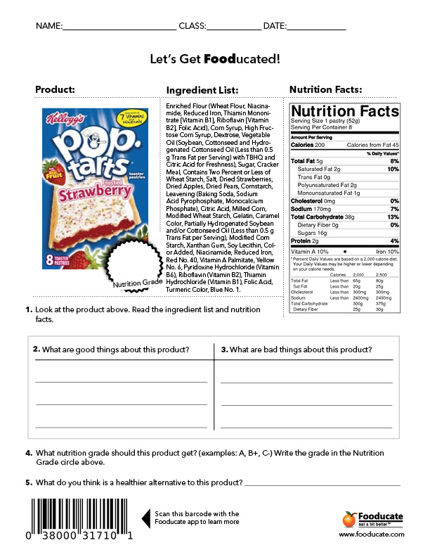 Worksheet Nutrition Label Worksheet fun nutrition worksheets for kids fooducate school poptarts