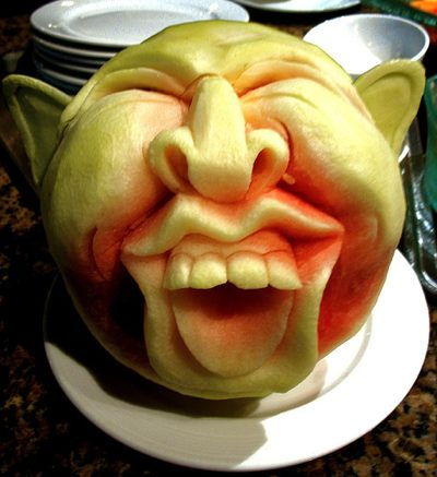 crazy carved watermelon man