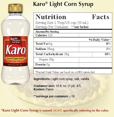 Karo Corn Syrup Nutrition