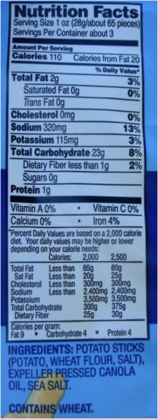 fries nutrition facts