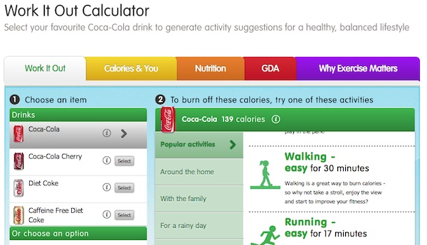 Coke's Work-it-Out-Calculator to Help Combat Obesity?