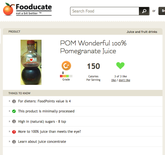 POM Wonderful is graded by Fooducate