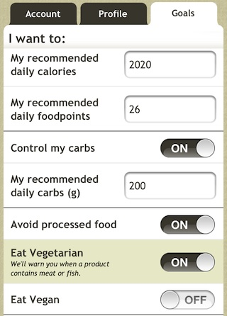 Fooducate Vegan and Vegetarian Settings