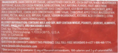 Brookside Dark Chocolate Goji Ingredients
