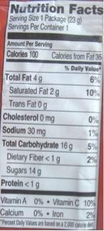 Brookside Dark Chocolate Goji Nutrients