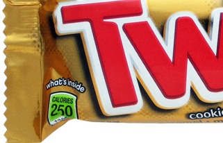 Twix Green Calorie Label