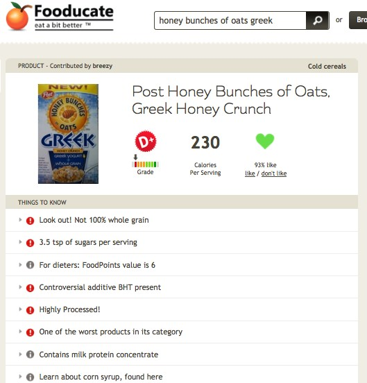 Honey Bunches of Oats Greek on Fooducate