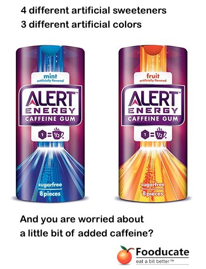Wrigley Alert Energy Gum - Artificially sweetened and colored