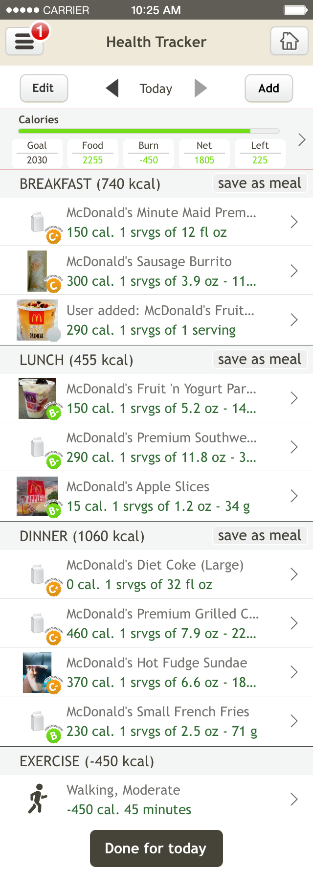McDonalds Diet on Fooducate