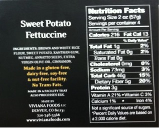 Viviana Sweet Potato Fettuccine Nutrition