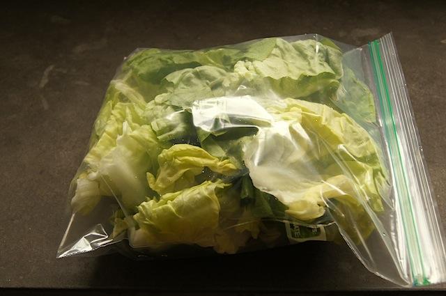 Green Salad in a ziploc bag