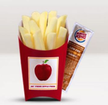 Burger King Apple Slices with Caramel Dipping in a French Fries Box