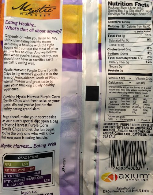 Mystic Harvest Purple Corn Tortilla Chips - Nutrition