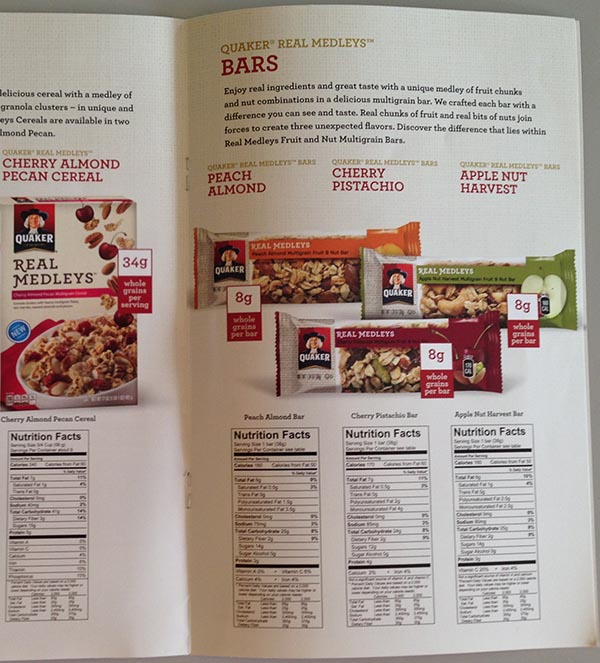 Quaker Oats Real Medley Brochure - Cherry Pistachio Bar