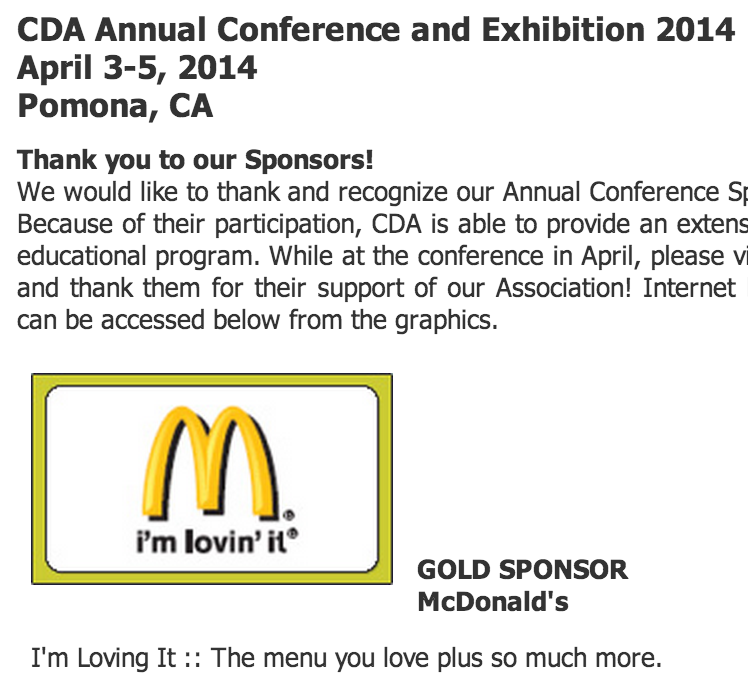 McDonald's Gold Sponsor of California Dietitians