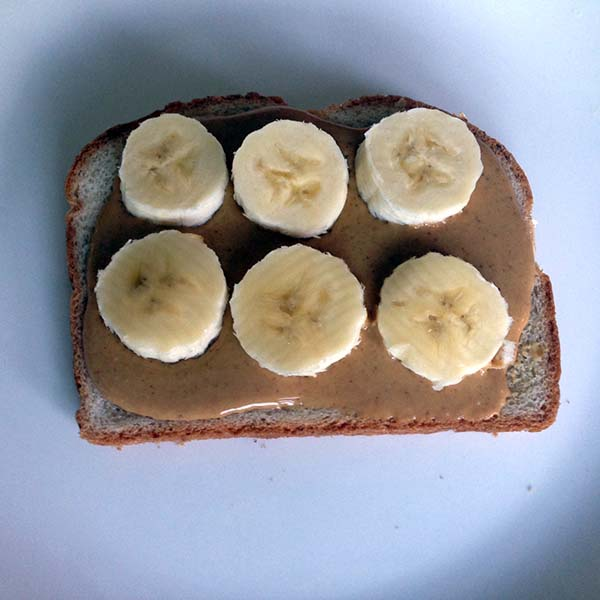 pb banana on whole wheat