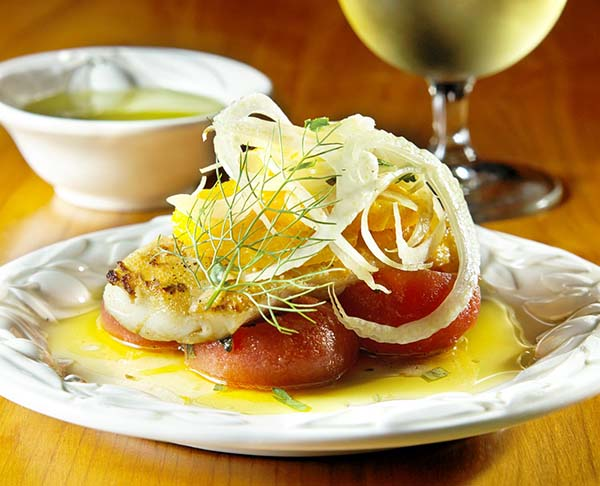 Healthy Recipe: Day Boat Cod with Olive Oil Melted Tomatoes and Petit Salad of Shaved Fennel and Oranges