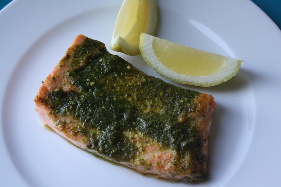 Pesto Roasted Salmon with Sauteed Kale This pesto salmon packs the ...